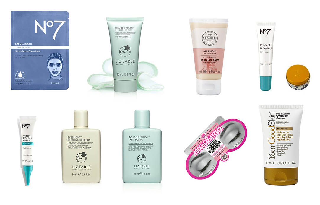Pictures of all the skincare items in the Macmillan Beauty Advent Calendar