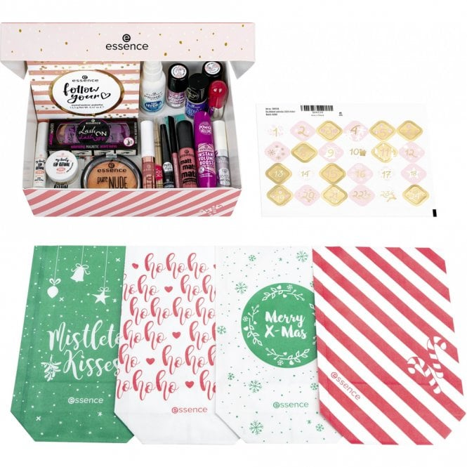 Image with the DIY elements of the Essence Advent Calendar 2020 such as gift bags and stickers