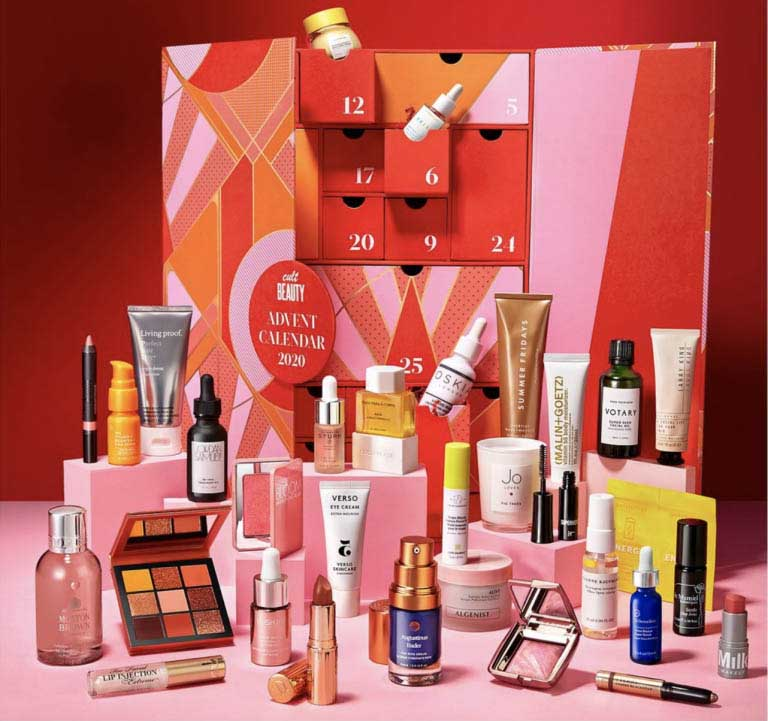 picture of all the products in the cult beauty advent calendar 2020