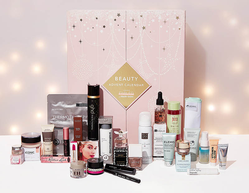 picture with all the products in the next advent beauty calendar 2020