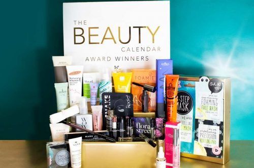 the box and all the products of the latest in beauty award winners beauty advent calendar 2020