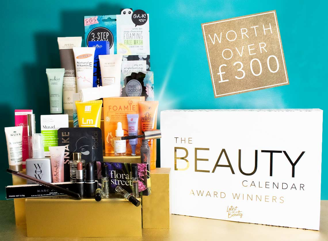pictures of the box and all the products in the latest in beauty award winners beauty advent calendar 2020