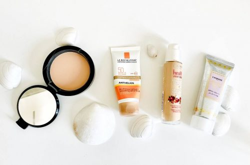 summer products such as sunscreen and setting powder