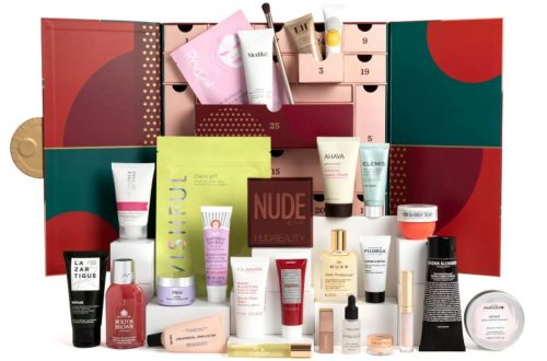 the feel unique christmas beauty advent calendar 2021 with its box, drawers and all products on display
