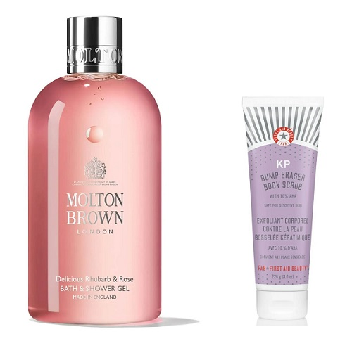 shower gel and exfoliating scrub in the bath and body section of the feel unique christmas beauty advent calendar 2021